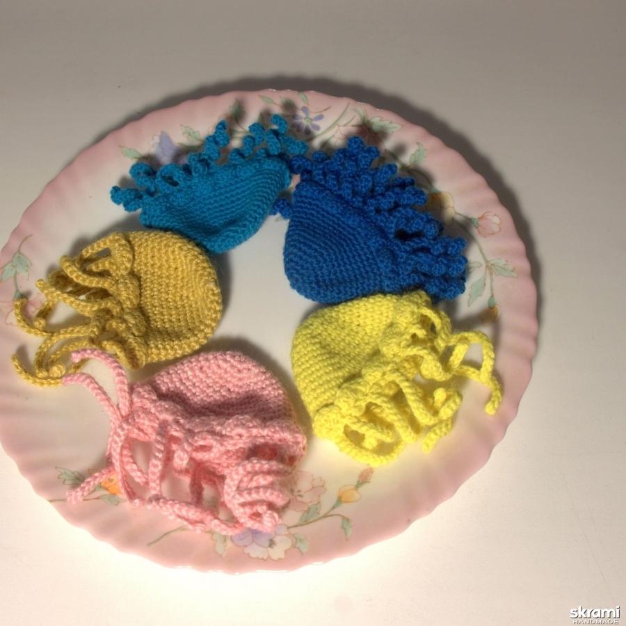 Набор из 5 вязанных шапочек-грелок ′Медуза′ для яиц
