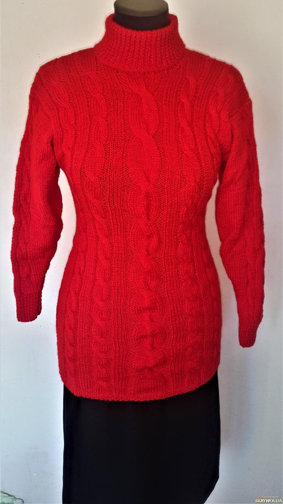 тут изображено Теплый красный женский свитер ручной работы 40 - 42 размера.