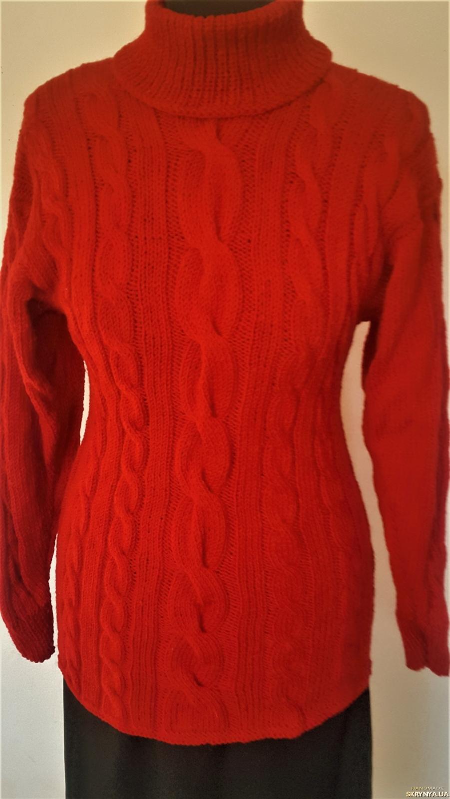 pictured here Красный теплый женский свитер ручной работы на 42 - 46 размер.