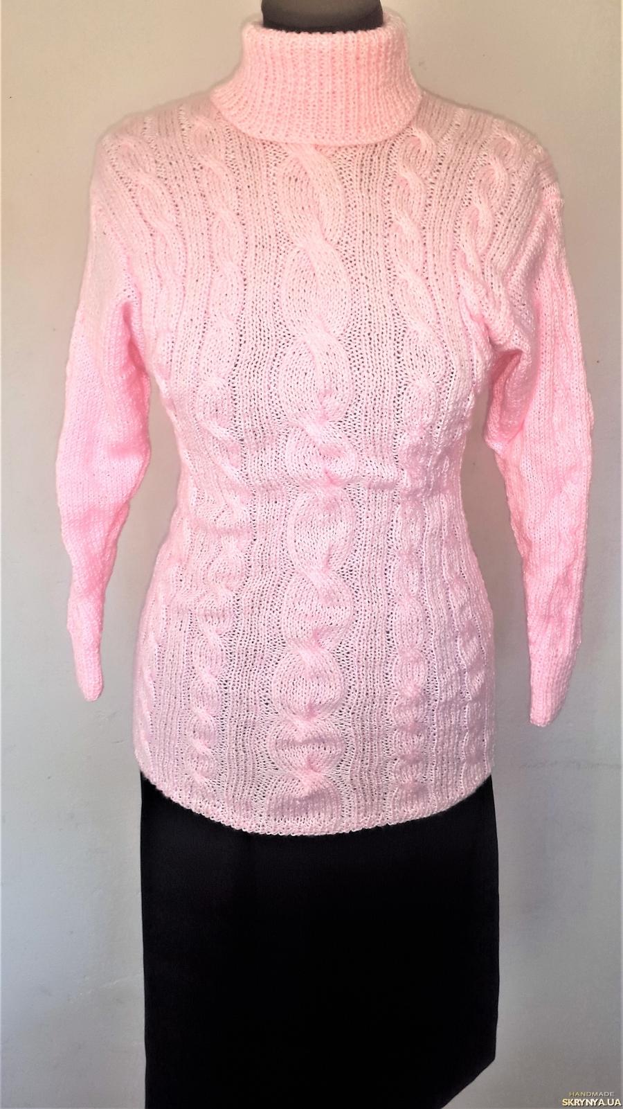 тут изображено Теплый розовый женский (подростковый) свитер ручной работы на 40 - 42 р