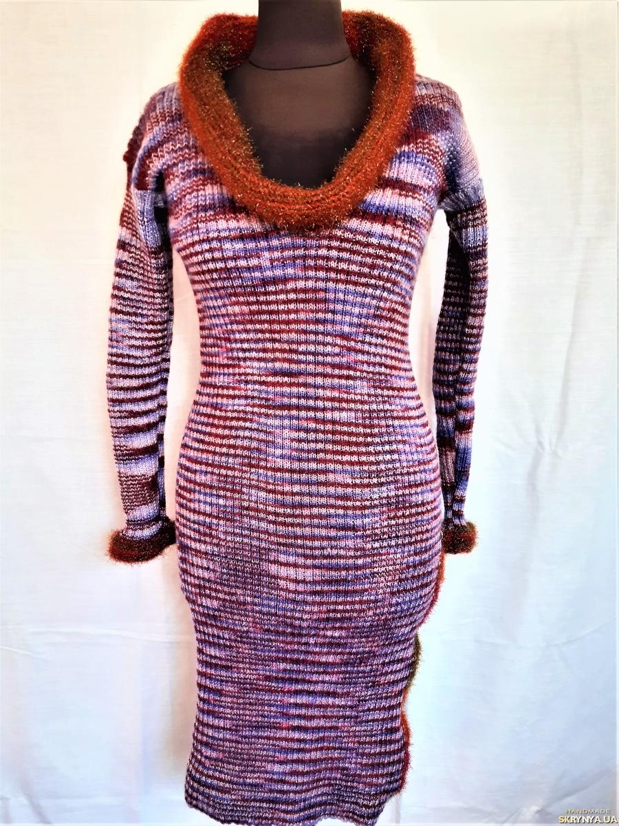 pictured here Теплое вязанное женское платье меланжевого цвета с камнями, 44-46