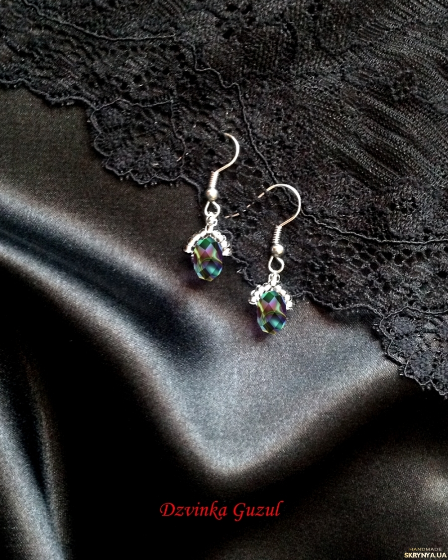 pictured here Earrings silver jewelry handmade svarovski crystals topaz garnet coral gift
