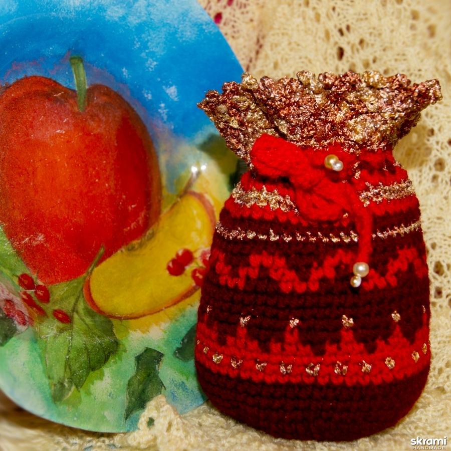 тут изображено Нарядная яркая сумочка на завязках для подарков и мелочей