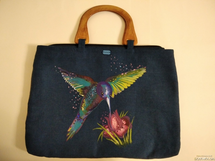 pictured here Designer women′s bag-folder with hand-painted fabric ′Hummingbird′