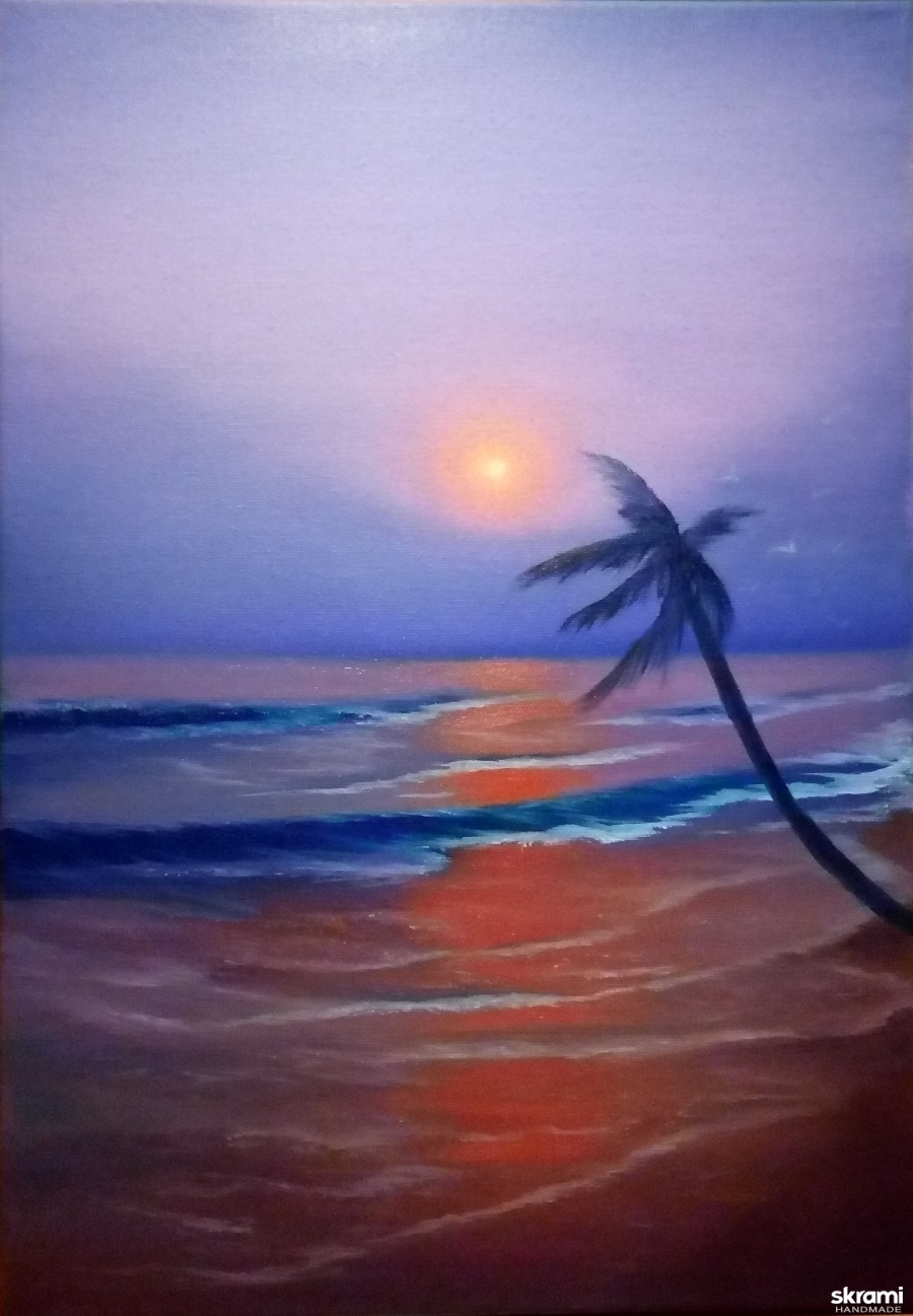 pictured here Картина маслом. Закат, океан, Гавайи, волна