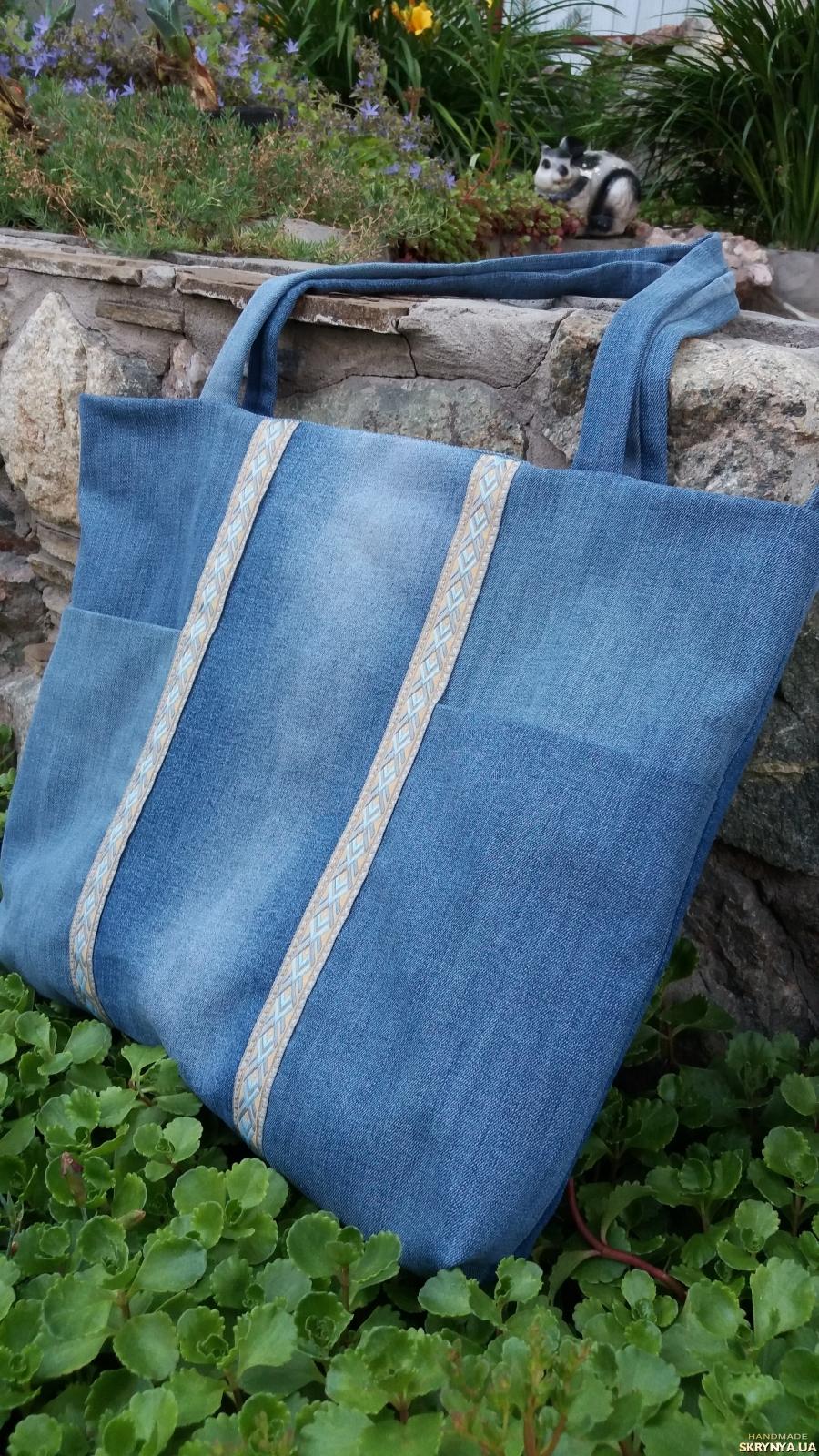 A denim eco-friendly  shopper bag