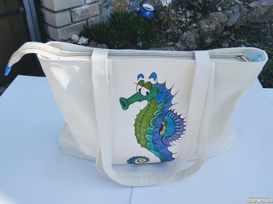 pictured here Summer bag exclusive with a hand-painted ′Seahorse′