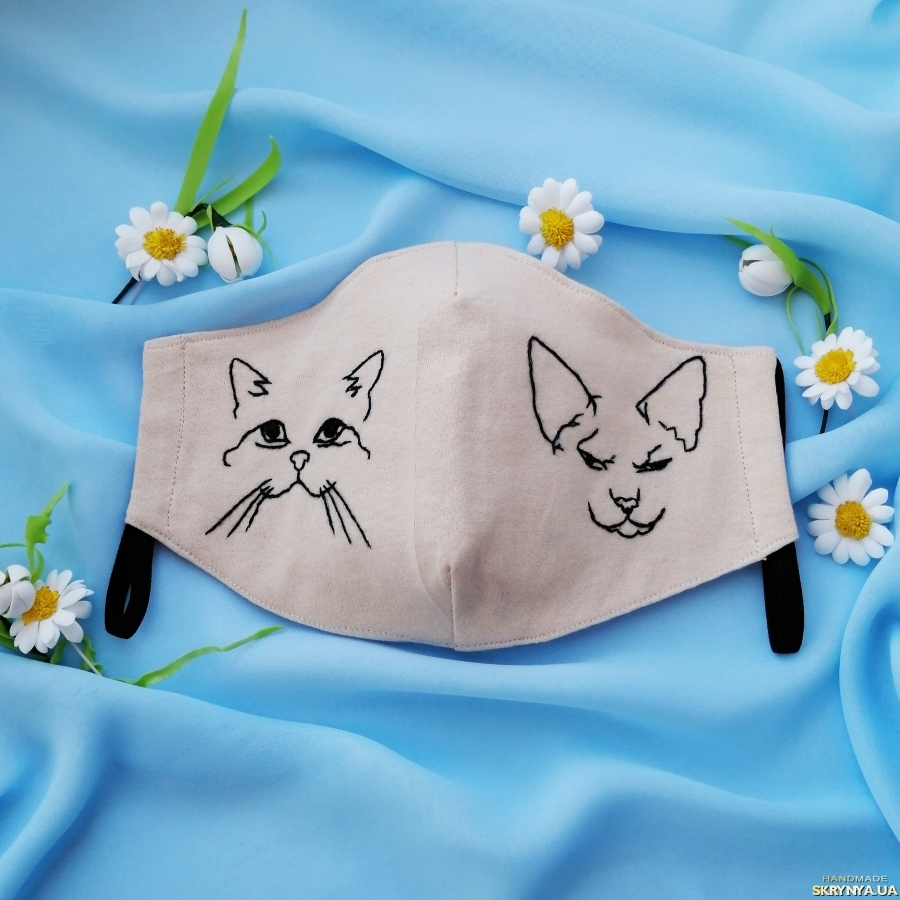 pictured here Designer mask fabric knitted with hand embroidery Sphynx cat