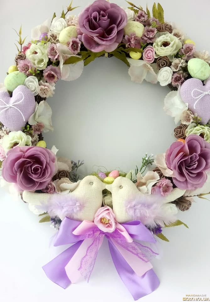 pictured here Easter wreath. Easter decor. Easter wreath