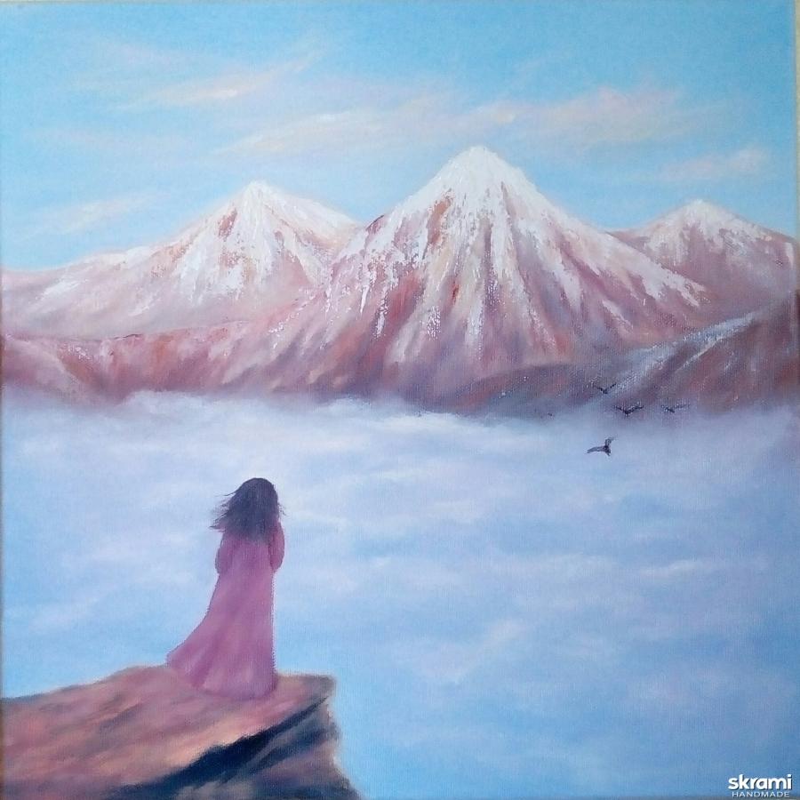 тут изображено Картина маслом. Гималаи в облаках, на вершине девушка