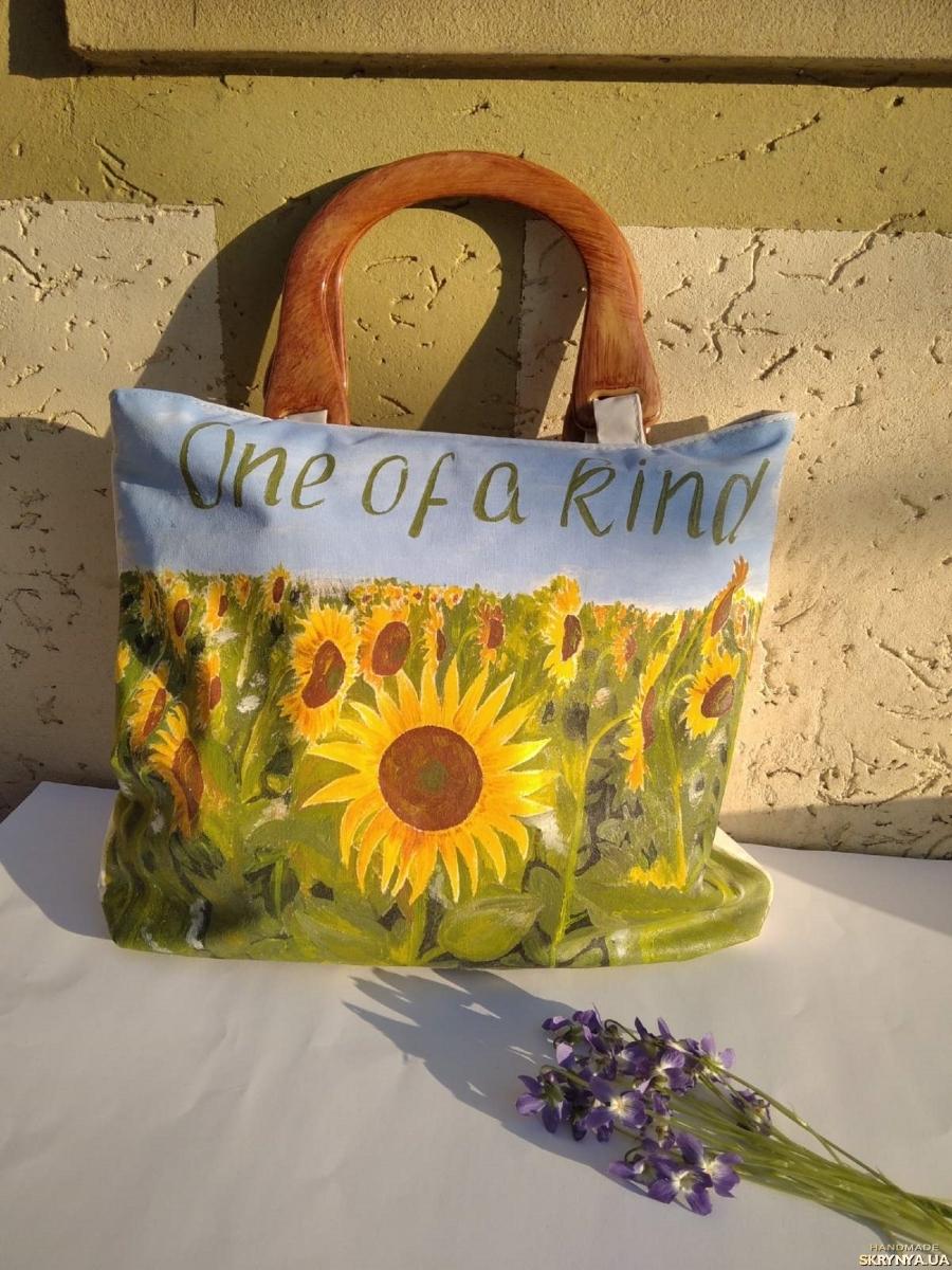pictured here Exclusive designer hand-painted summer handbag