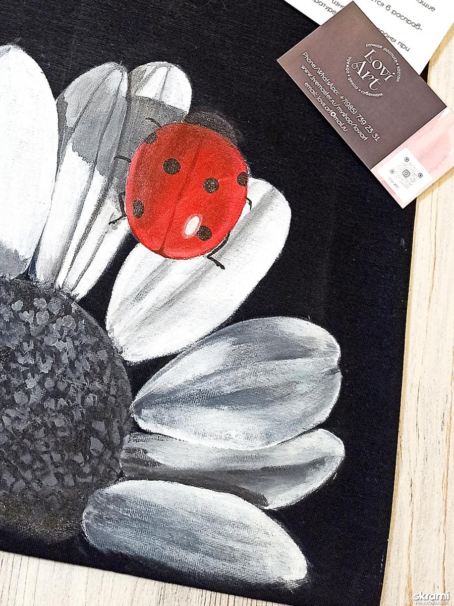 тут изображено Сумка-шоппер с авторской ручной росписью