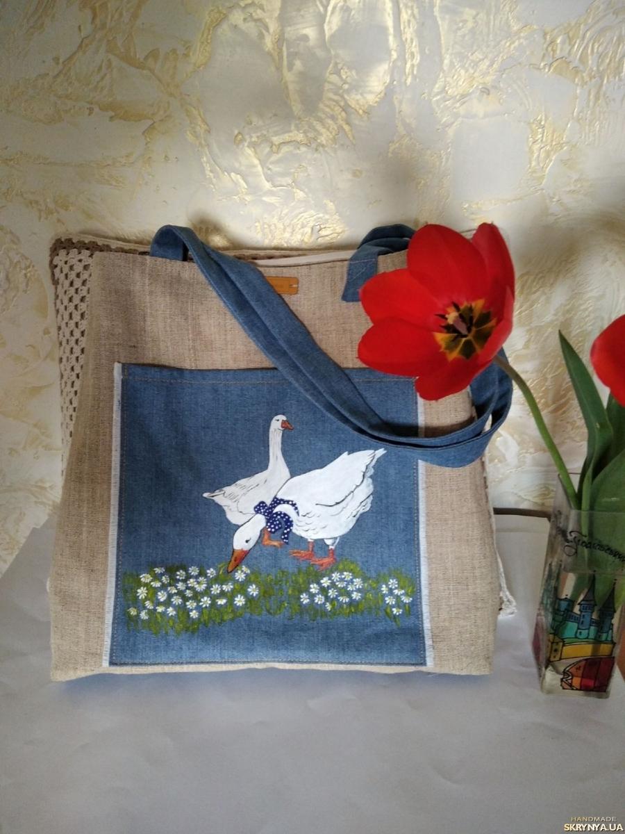 тут изображено Эксклюзивная полотняная сумка с росписью Гуси