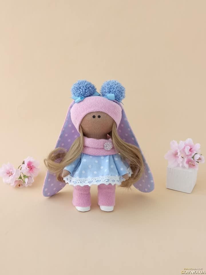 тут изображено Кукла текстильная.Зайка ручной работы. Кукла тильда. Лялька.