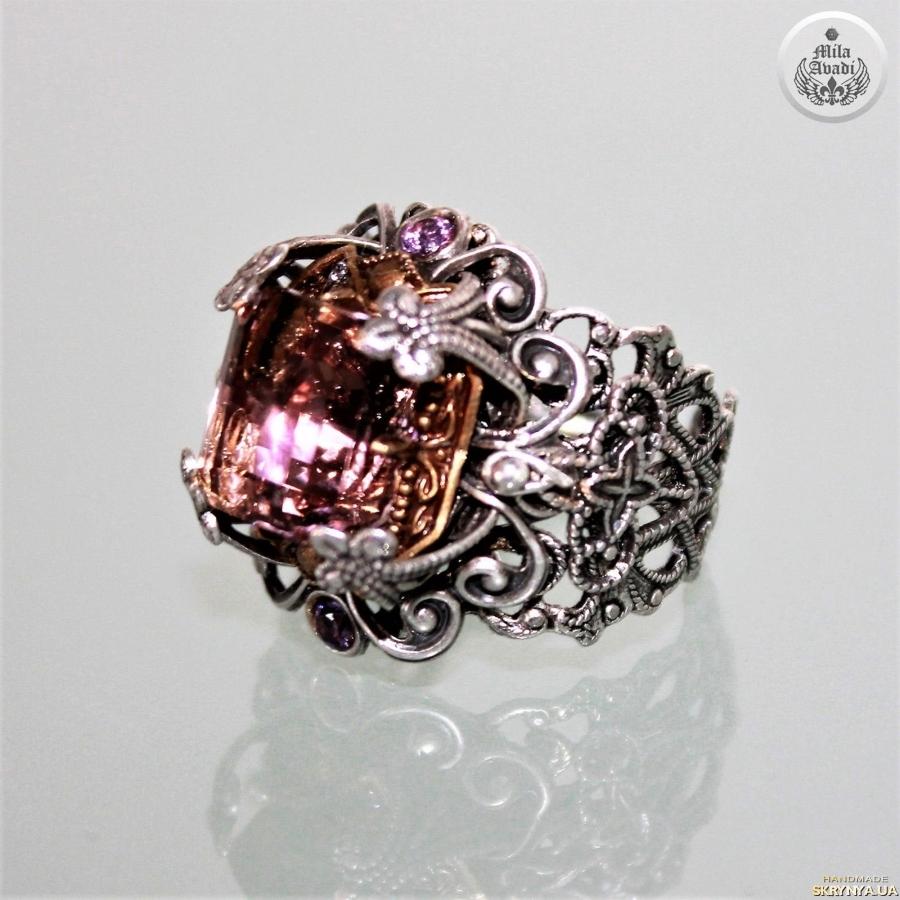 pictured here Adjustable ring, Brazilian ametrine octagon, handmade