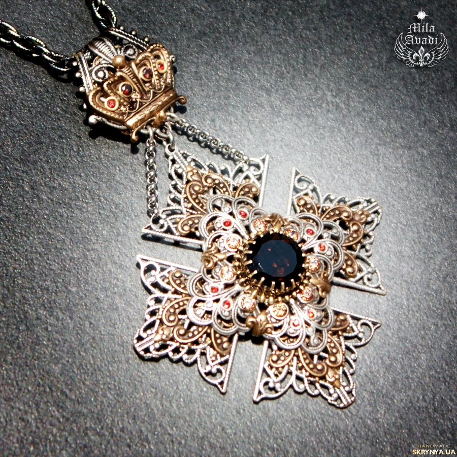 pictured here Pendant Crowned Maltese Cross, natural rauchtopaz, handmade