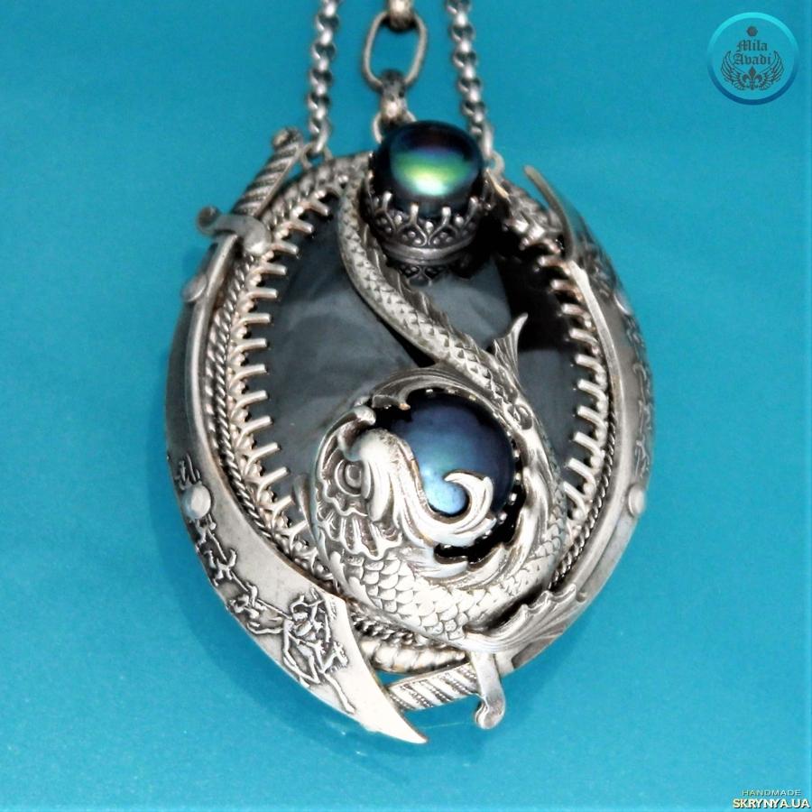 pictured here Pendant talisman Magic Koi, hematite, black pearls, handmade