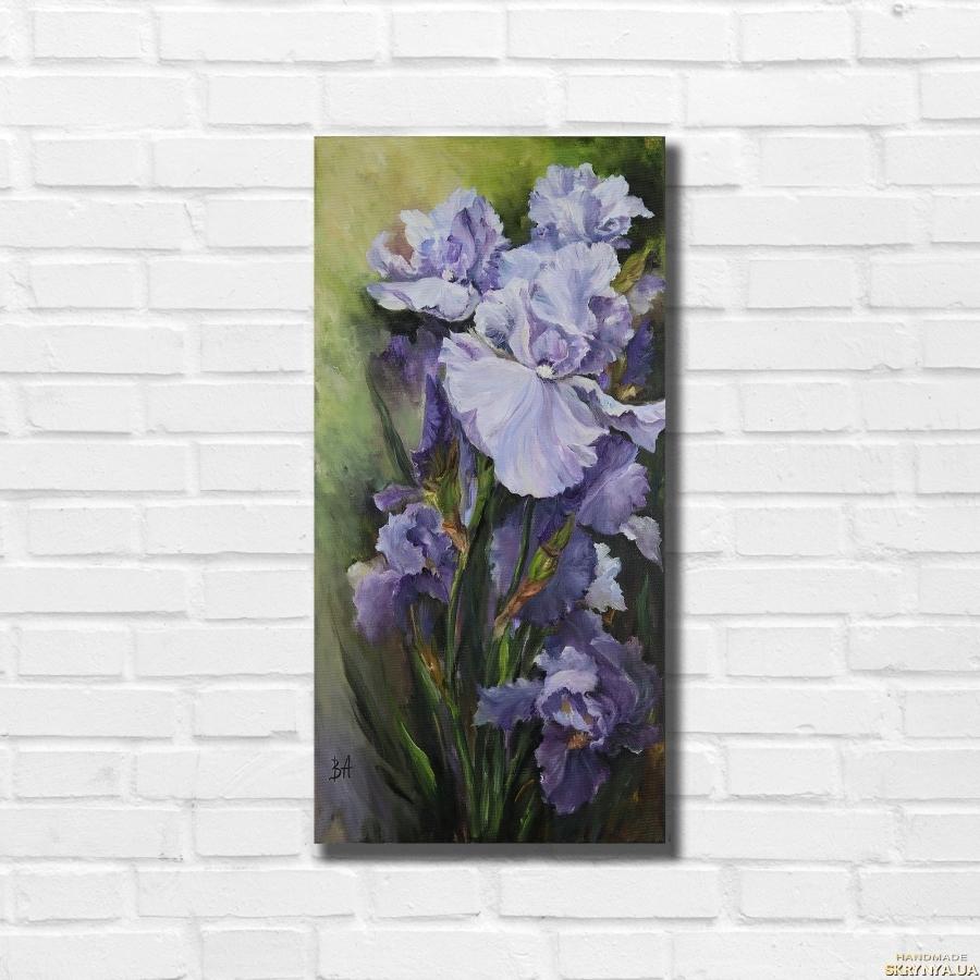 pictured here Картина маслом ′В плену ирисов′ 50х25 см, холст на подрамнике, масло