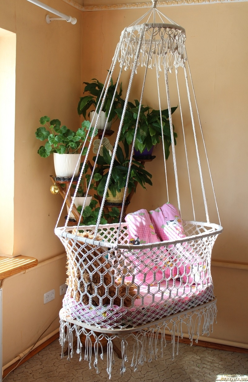 pictured here Hanging cradle made using macrame technique.