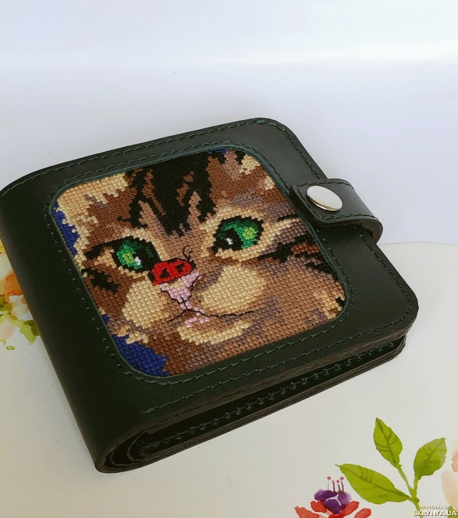 pictured here Гаманець шкіряний «Котик», кожаный кошелёк «Котёнок »