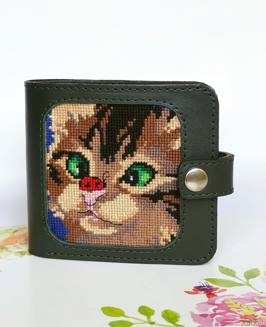 Гаманець шкіряний «Котик», кожаный кошелёк «Котёнок »