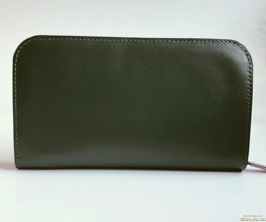 Шкіряний жіночий гаманець з вишивкою