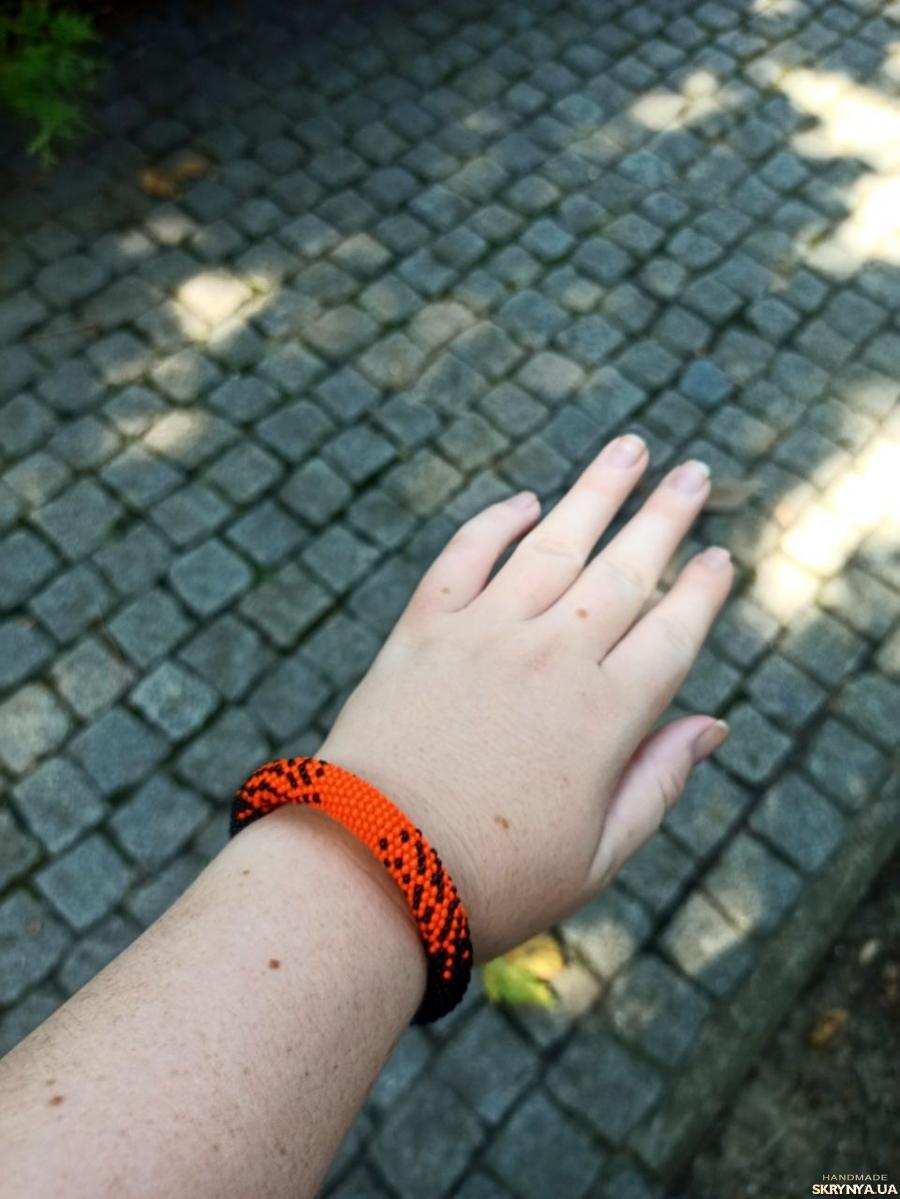 Браслет оранжевый, брсалет ручной работы из бисера, Лучший подарок девушке