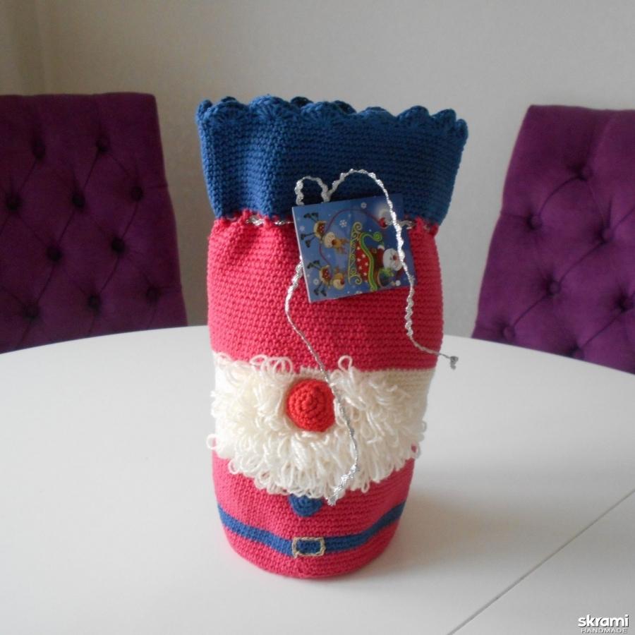 Футляр для бутылки шампанского, вина, воды, футляр в виде Деда Мороза