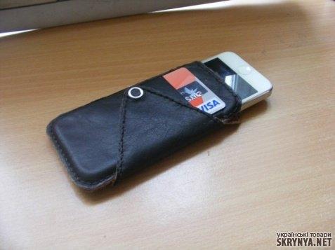 тут изображено Кожаный чехол для iphone 4, 4S, 5.