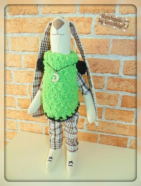 тут изображено «Интерьерная игрушка - модный заец в стиле Тильда»