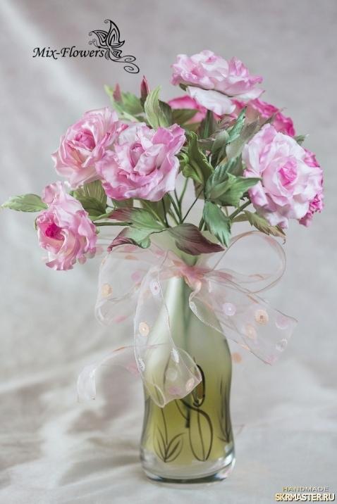 тут изображено Интерьерный букет роз Анабель