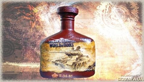тут изображено World of Tanks Подарочное оформление бутылки подарок парню на день рождения