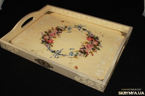 тут изображено Поднос Тосканская роза