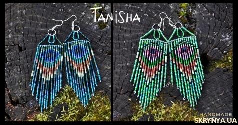 тут изображено Серьги Tanisha beads Перо павлина