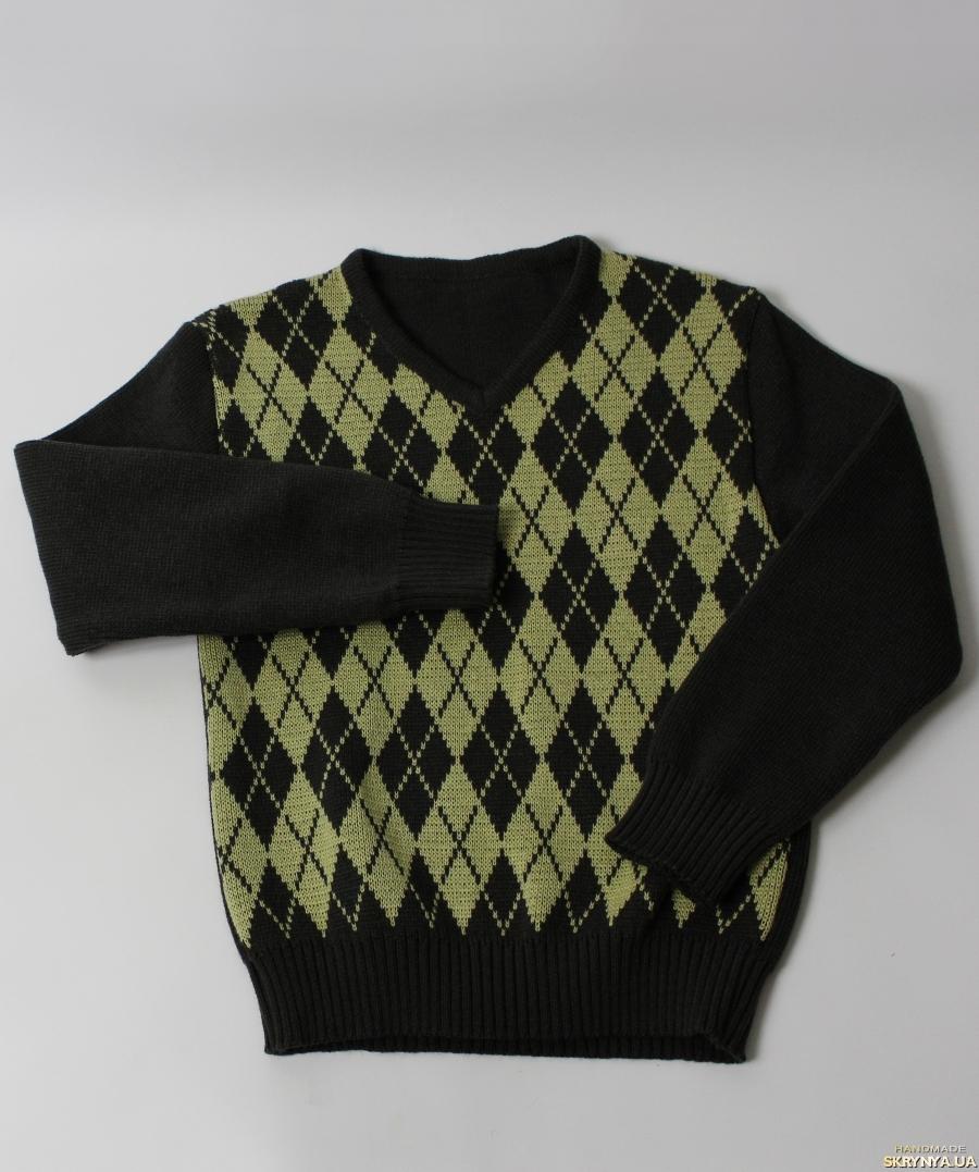 тут изображено Пуловер с ромбами