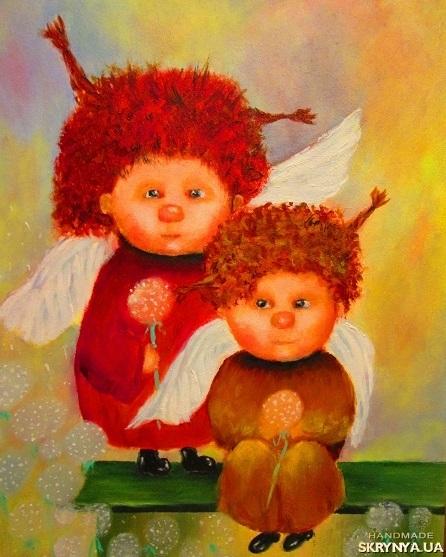 тут изображено Картина маслом Рыжие ангелы по мотивам Г.Чувиляевой