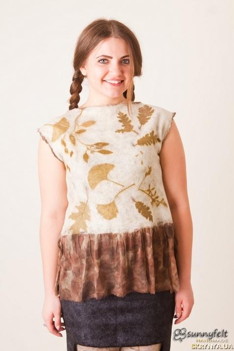 тут изображено Блуза туника валяная. Нуновойлок. Бохо, эко стиль, эко принт