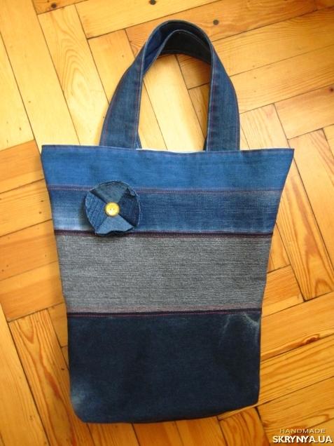 pictured here Denim bag jeans shoulder bag Beach bag Hand made Market tote bag