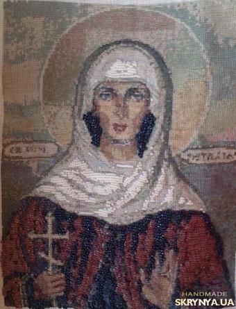 тут изображено Вышитая картина крестиком и бисером «Св. мученица Наталья»