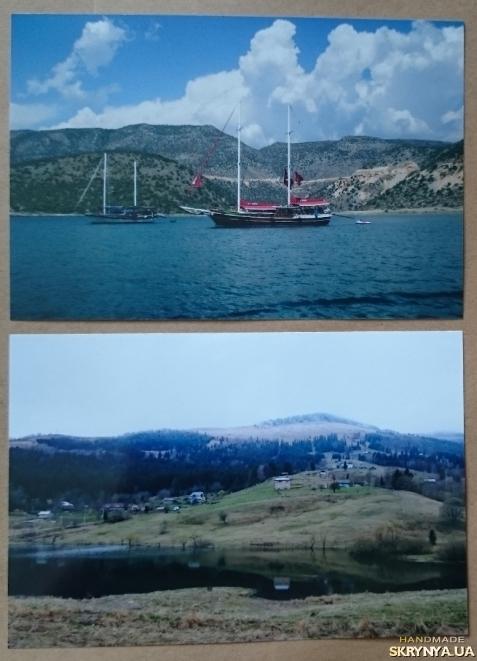 тут изображено Фото картины: Море яхты и Горы река