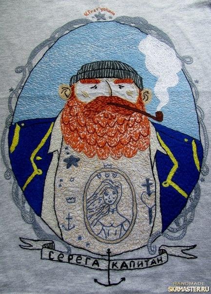 тут изображено Футболка вышивка вышиванка серега капитан