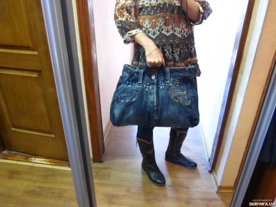 Denimbag shopper bag, big pockets Handmade handbag large upcycled