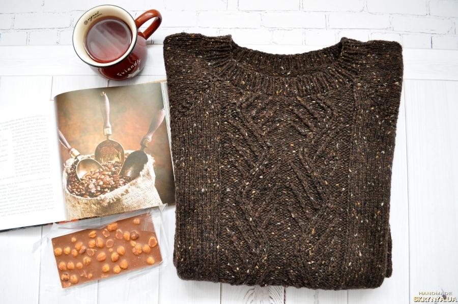 тут изображено Шерстяной свитер Бельгийский шоколад с орешками