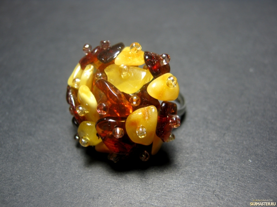 тут изображено Кольцо с натуральным янтарем′Янтарное′