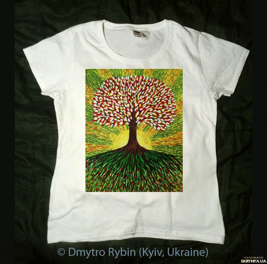 тут изображено Древо жизни. Эксклюзивная футболка.