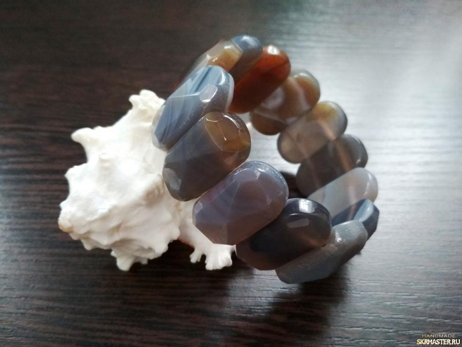 тут изображено Браслет из натурального камня′Крымский агат′