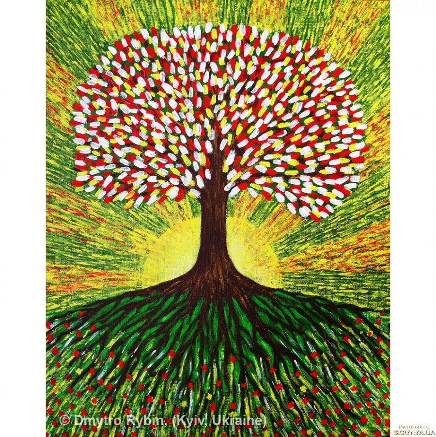 тут изображено Древо жизни. Энергетическая акриловая живопись. 40x50 см