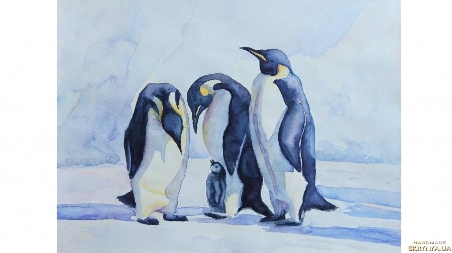 тут изображено Пингвины пингвин акварель акварельные краски