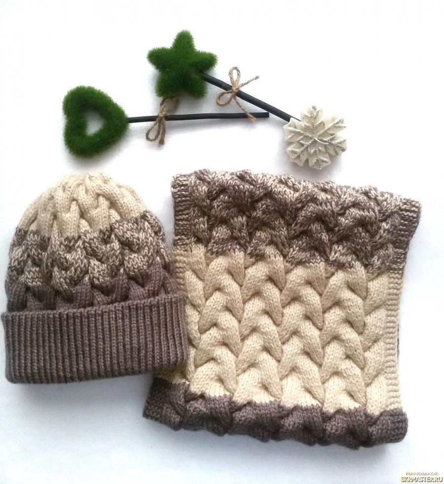 тут изображено Вязаный зимний комплект шапка и снуд