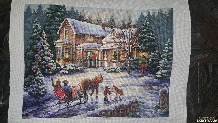 тут изображено Картина вишита ′Повернення додому на свята′